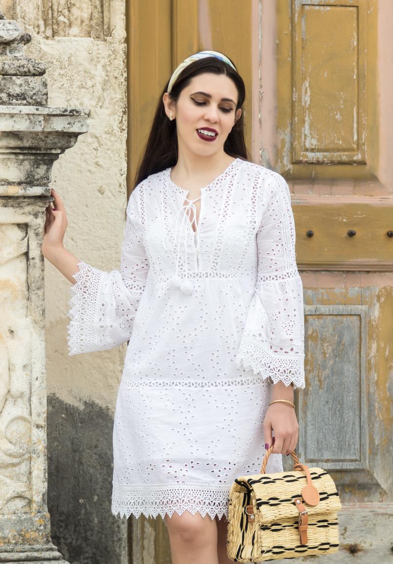 Le Fashionaire Como escolher o vestido perfeito para o verão vestido branco bordado pom pom branco mango lenco bege borboletas swarovski 3729 PT 805x1153