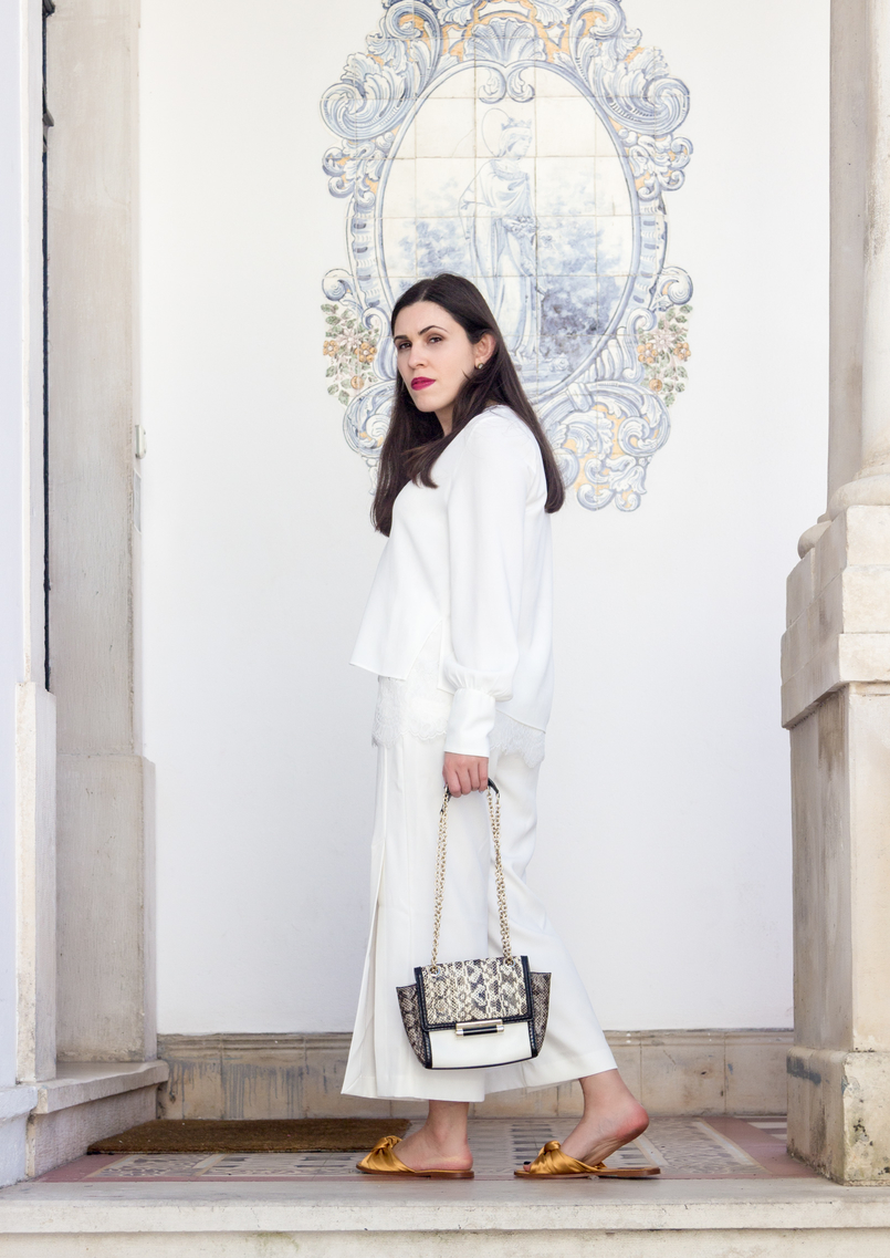 Le Fashionaire Where to shop for discount designer bags? white lace zara blouse oversized white splits pants diane von furstenberg leather snake gold chain white bag dark yellow satin zara slides 5595 EN 805x1137