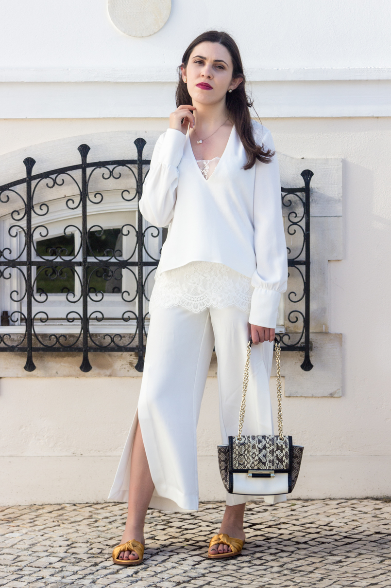 Le Fashionaire Where to shop for discount designer bags? white lace zara blouse oversized white splits pants diane von furstenberg leather snake gold chain white bag dark yellow satin zara slides 5603 EN 805x1208