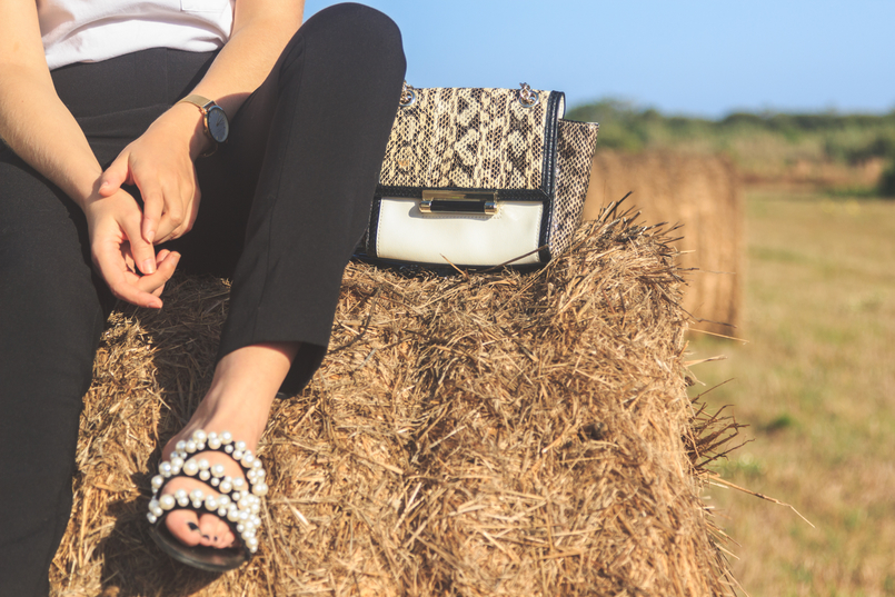 Le Fashionaire The day i jumped into a straw bale...and liked it! black cigarette zara trousers black white pearls zara slides white black snake leather gold chain diane von furstenberg 6769 EN 805x537