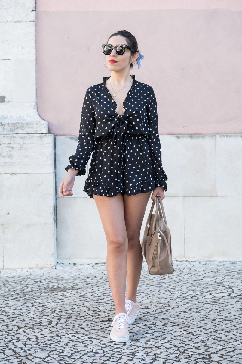 Le Fashionaire Why you should fake it until you make it in fashion black white polka dots shein romper gold world map cinco silver medallion suede pale pink gold dots vans sneakers black celine marta sunglasses 1986 EN 805x1208