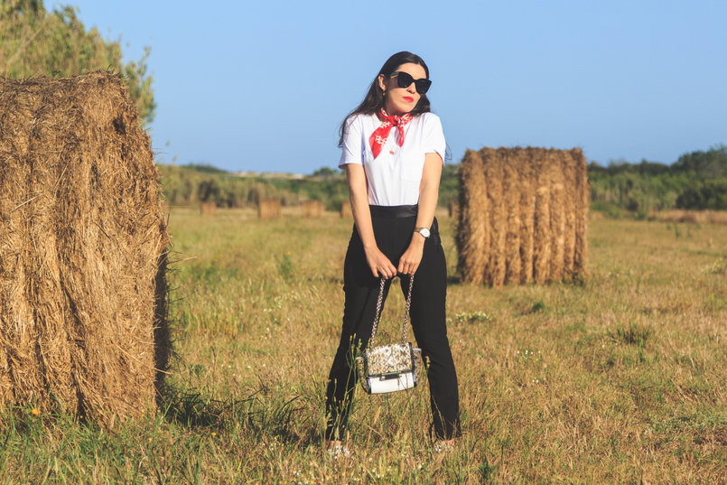 Le Fashionaire The day i jumped into a straw bale...and liked it! white camlo organic cotton tee polka dots red white vintage scarf black cigarette zara trousers celine black marta sunglasses 6724 EN 805x537