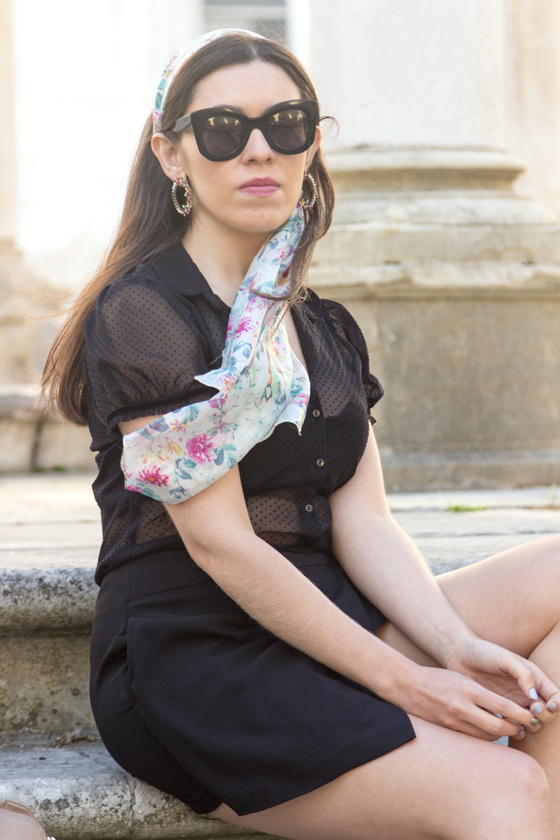 Le Fashionaire Why you need a nude bag black transparent dots zara shirt silk scarf birds flowers accessorize green pink bold round flowers crystal mango earrings 6215 EN 805x1208