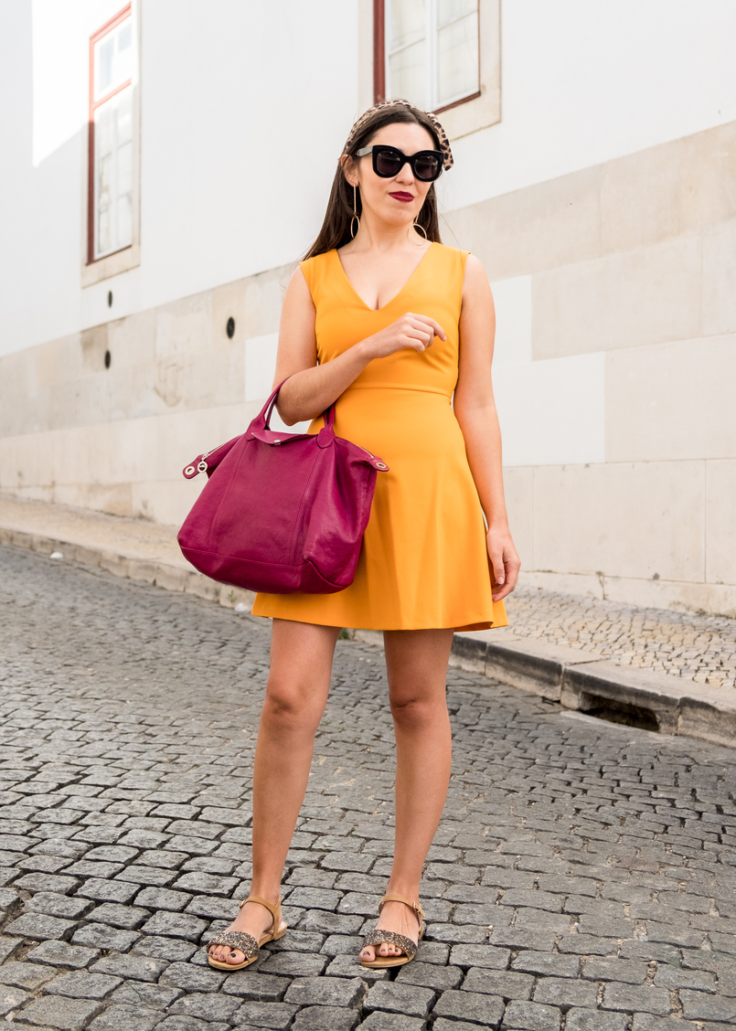 Le Fashionaire Yellow is not everyone's cup of tea dark yellow zara dress camel sparkle parfois crystals sandals purple longchamp pliage cuir bag celine marta black sunglasses 3364 EN 805x1128