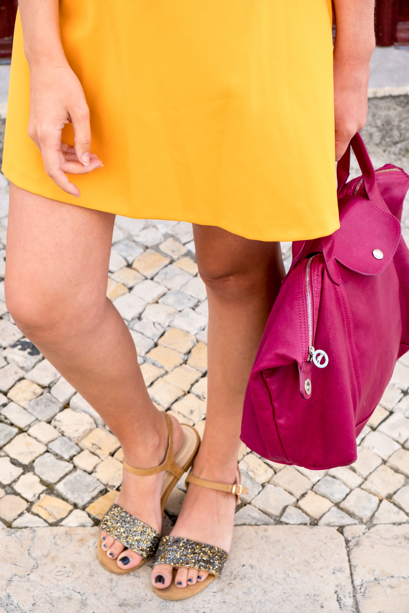 Le Fashionaire Yellow is not everyone's cup of tea dark yellow zara dress camel sparkle parfois crystals sandals purple longchamp pliage cuir bag celine marta black sunglasses 3388 EN 805x1208