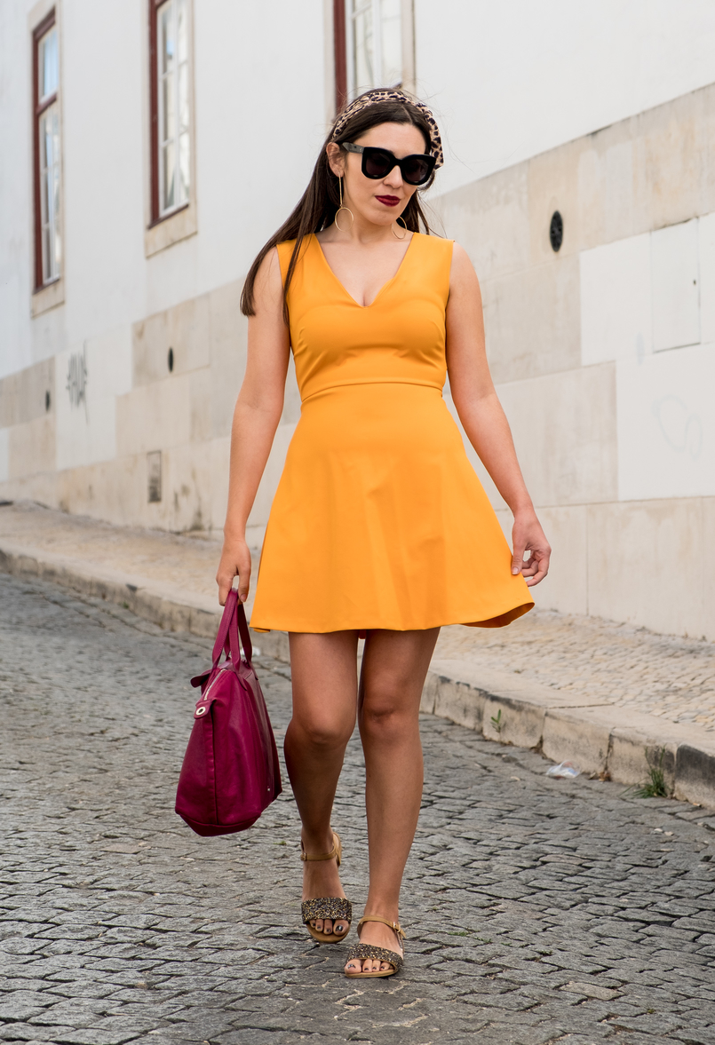 Le Fashionaire Yellow is not everyone's cup of tea dark yellow zara dress camel sparkle parfois crystals sandals purple longchamp pliage cuir bag celine marta black sunglasses 3390 EN 805x1177