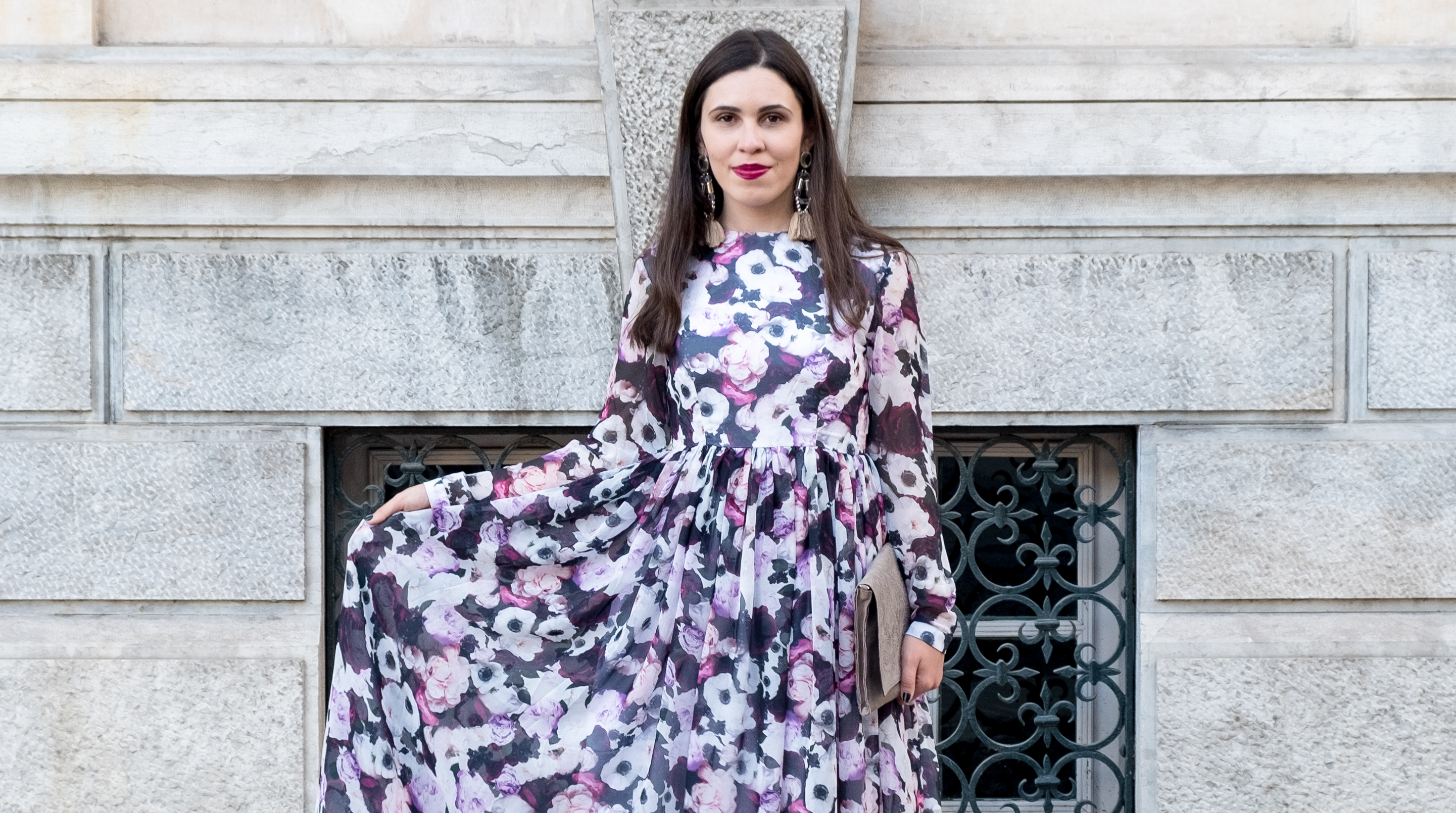Le Fashionaire Purple is the new black blogger catarine martins maxi floral purple nakd dress 5822F EN
