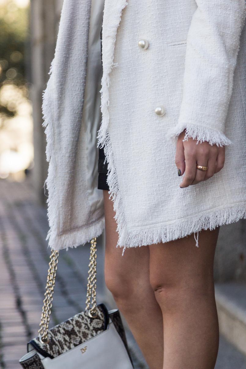 Le Fashionaire O que vesti no primeiro dia de Portugal Fashion casaco branco tweed perolas zara tank top branco linho zara 8445 PT 805x1208