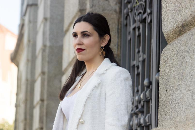 Le Fashionaire O que vesti no primeiro dia de Portugal Fashion casaco branco tweed perolas zara tank top branco linho zara 8451 PT 805x537