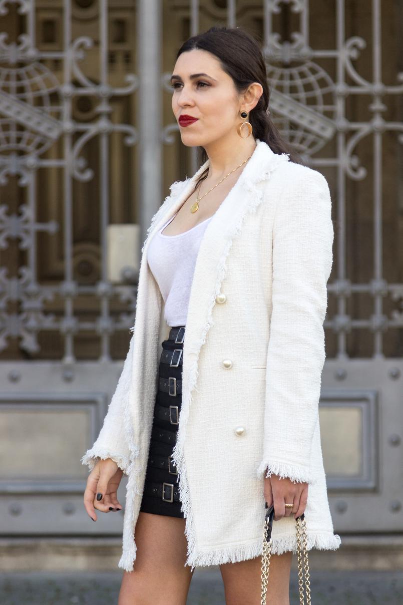 Le Fashionaire O que vesti no primeiro dia de Portugal Fashion casaco branco tweed perolas zara tank top branco linho zara 8470 PT 805x1208