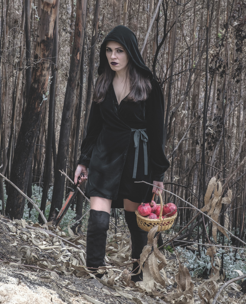 Le Fashionaire What to wear in Halloween? dark green velvet zara dress fake blood knife pomegranate red basket black spiders over knee stradivarius black boots 6634 EN 805x996