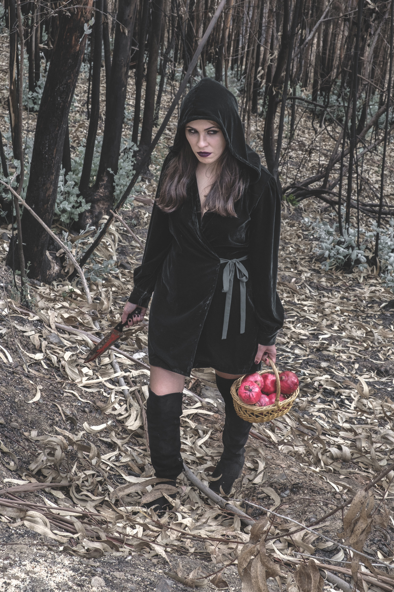 Le Fashionaire What to wear in Halloween? dark green velvet zara dress fake blood knife pomegranate red basket black spiders over knee stradivarius black boots 6647 EN 805x1208