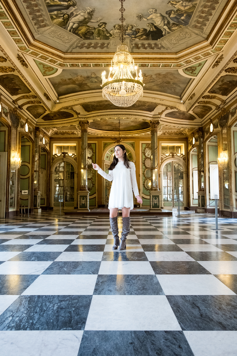 Le Fashionaire The portuguese Palace you need to know green chess floor white black room palace queluz ornate rooms white zara dress over knee suede grey bershka boots 6050 EN 805x1208