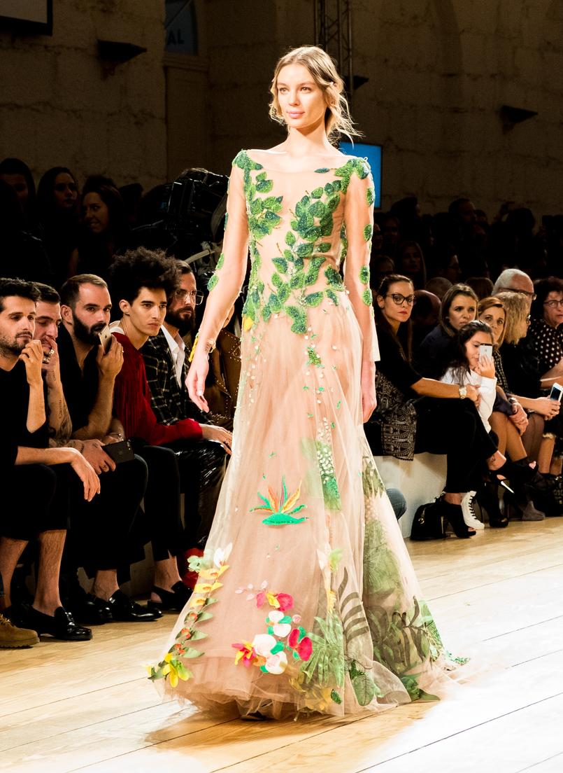 Le Fashionaire Portugal Fashion: My favorite fashion shows portugal fashion organza dress embroidered green leaves micaela oliveira 9371 EN 805x1104