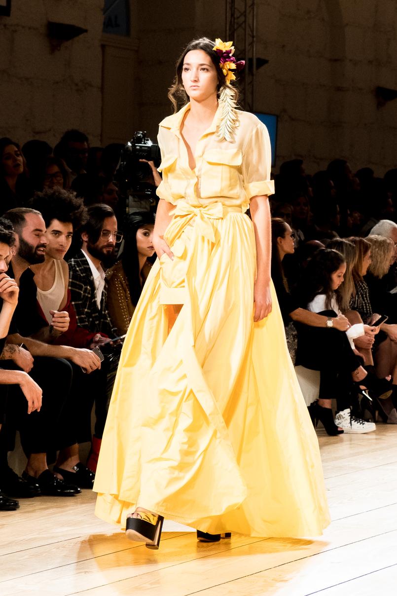 Le Fashionaire Portugal Fashion: My favorite fashion shows portugal fashion yellow dress shirt shorts micaela oliveira 9610 EN 805x1208
