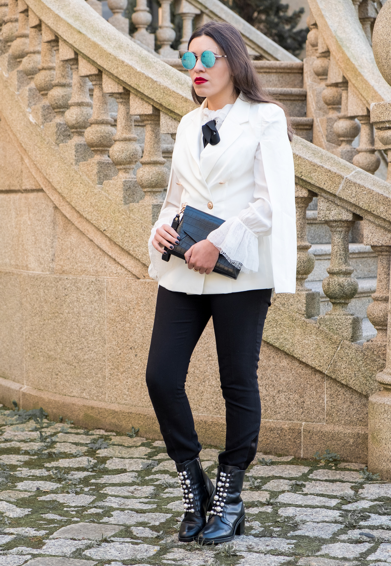 Le Fashionaire Where to shop for cool clothes? white cape gold buttons shein blazer black trousers zara black leather boots white pearls zara fake leather black parfois clutch 0428 EN 805x1164