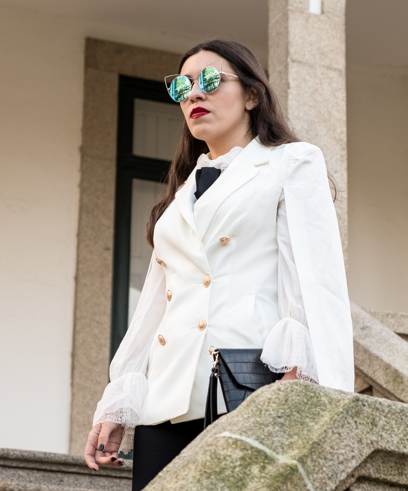 Le Fashionaire Where to shop for cool clothes? white cape gold buttons shein blazer white silk ruffles lace massimo dutti shirt mirrored sunnies cat eye 0449 EN 805x968