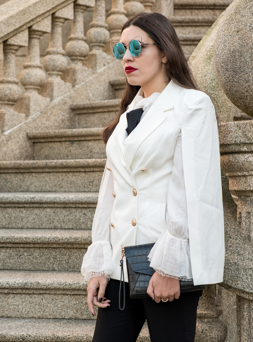 Le Fashionaire Where to shop for cool clothes? white cape gold buttons shein blazer white silk ruffles lace massimo dutti shirt mirrored sunnies cat eye fake leather black parfois clutch 0416 EN 805x1089