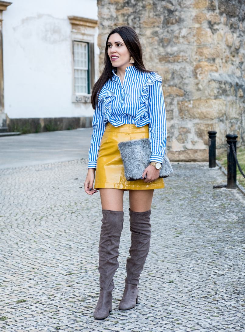 Le Fashionaire On trend: Vinyl yellow vinyl sfera skirt over knee suede grey over knee bershka boots gold bold hm tassels earrings gold watch rosefield watches 4179 EN 805x1090