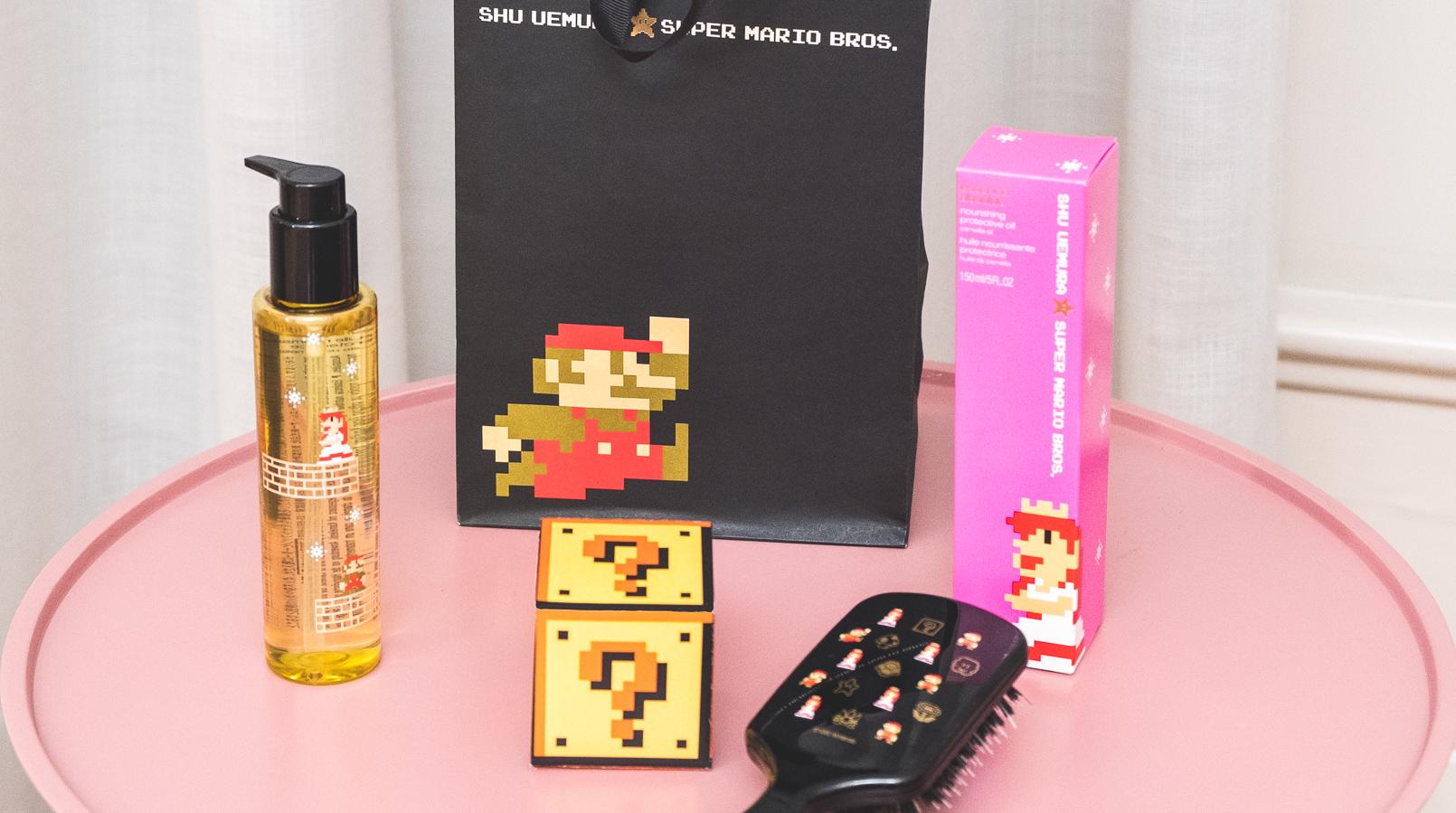 Le Fashionaire Shu Uemura X Super Mario: O segredo para um cabelo bonito oleo absolue oil shu uemura super mario escova preta super mario cerdas javali caixa rosa saco preto super mario ponto interrogacao caixa amarela 1162F PT