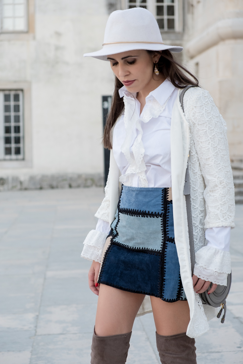 Le Fashionaire Can short women wear over the knee boots? white cotton swiss embroidered ruffles uterque shirt white lace maxi cardigan zara white wool hat patchwork leather blue skirt 0891 EN 805x1208