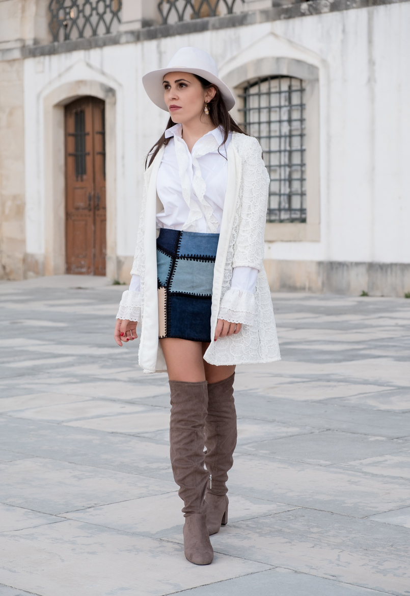 Le Fashionaire Can short women wear over the knee boots? white cotton swiss embroidered ruffles uterque shirt white wool hat patchwork leather blue skirt over knee suede grey boots 0949 EN 805x1168