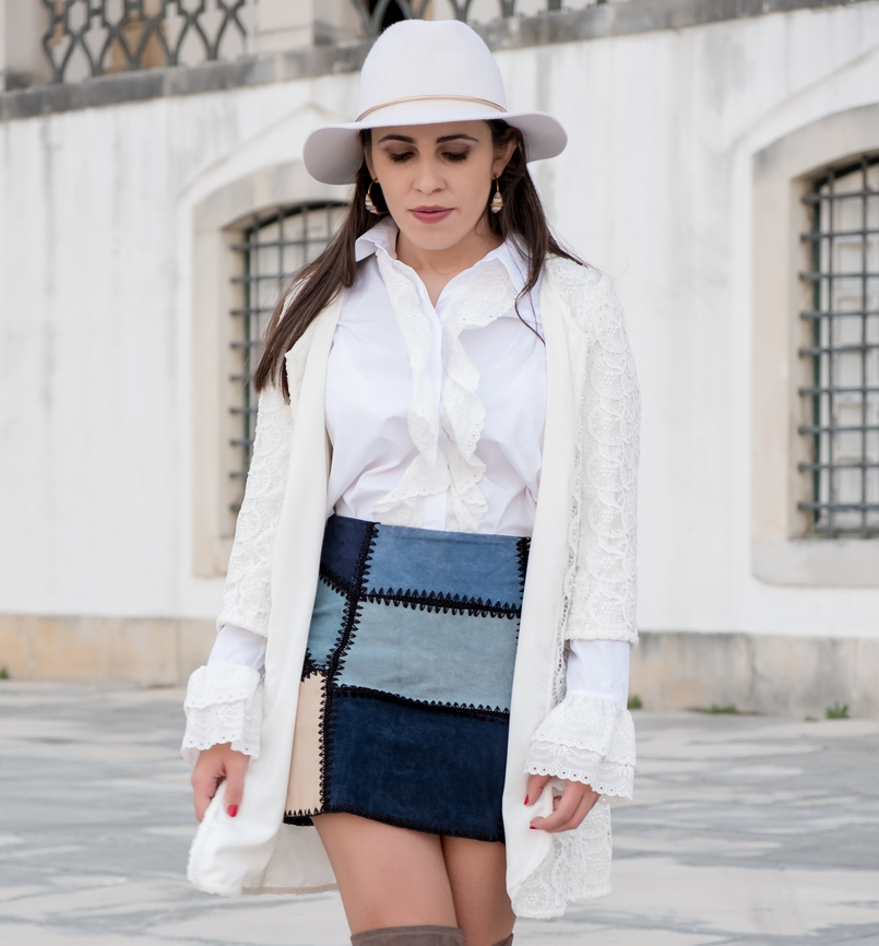 Le Fashionaire Can short women wear over the knee boots? white cotton swiss embroidered ruffles uterque shirt white wool hat patchwork leather blue skirt parfois hoop earrings 0958 EN 805x866