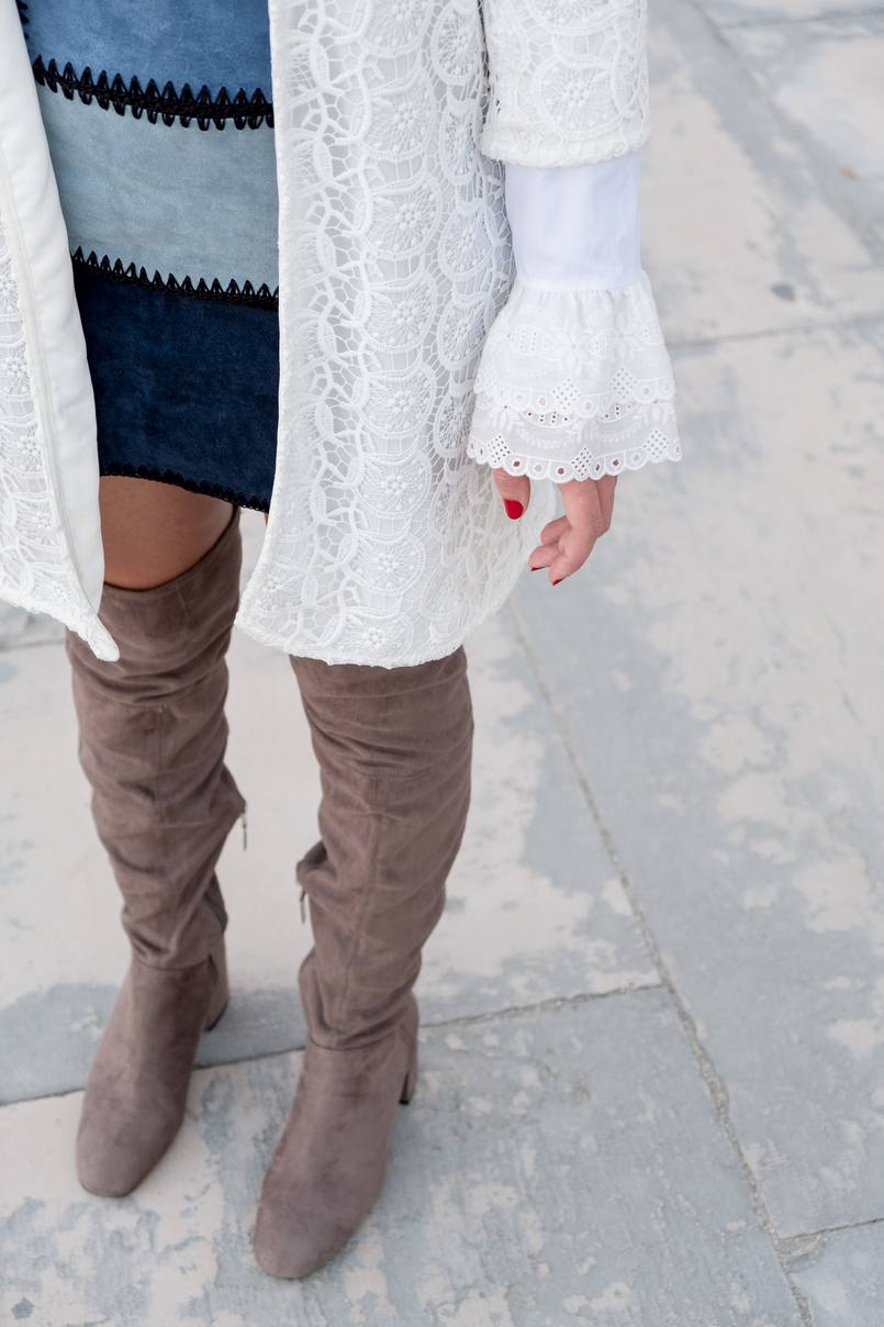 Le Fashionaire Can short women wear over the knee boots? white lace maxi cardigan zara patchwork leather blue skirt over knee suede grey boots 0921 EN 805x1208