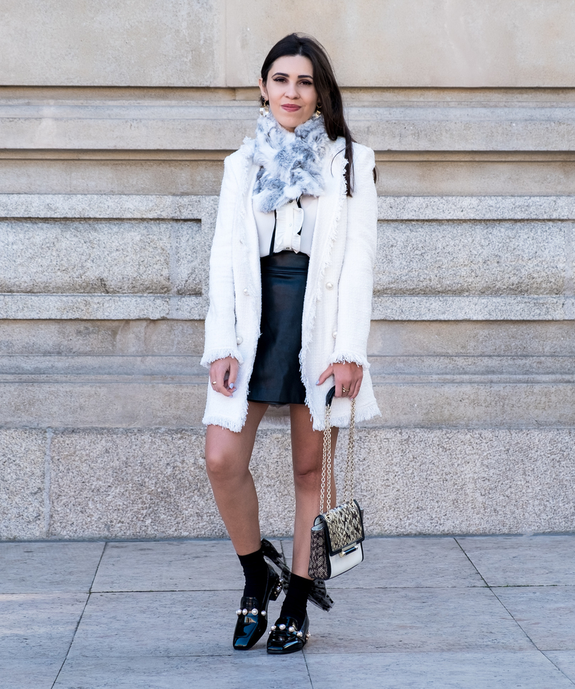 Le Fashionaire Where to find cool socks for fall? white tweed coat pearls buttons zara buttons black zara skirt black big bow dots calzedonia socks vinil pearls shein black gold shoes 1922 EN 805x964