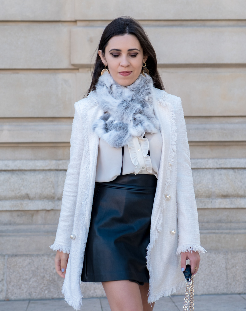Le Fashionaire Where to find cool socks for fall? white tweed coat pearls buttons zara white black bow neck zara shirt buttons black zara skirt fur grey white sfera stole gold bold mango earrings 1990 EN 805x1017