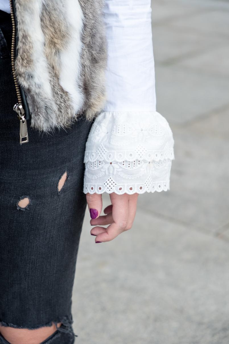 Le Fashionaire Na vida esforço não é sinónimo de sucesso calcas cinzento escuro rasgoes zara camisa branca algodao folhos bordado ingles uterque 3063 PT 805x1208
