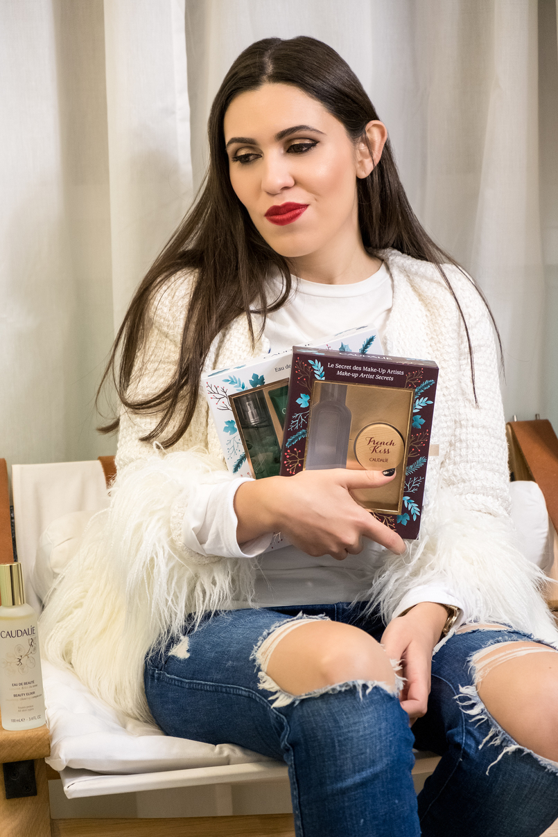 Le Fashionaire Christmas gifts for the women of your life caudalie eau des vignes green products coffret lip balm french kiss wood white feathers shein jacket denim ripped zara jeans 4039 EN 805x1208