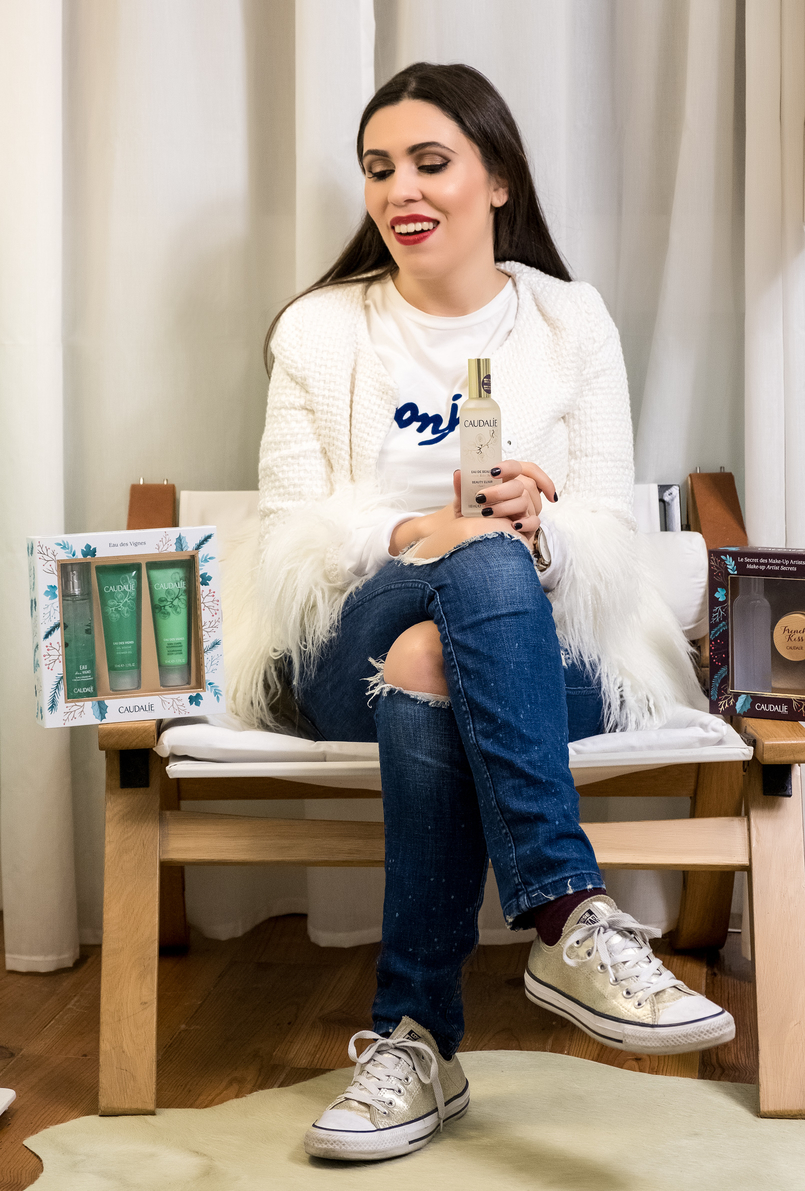 Le Fashionaire Christmas gifts for the women of your life caudalie eau des vignes green products coffret white feathers shein jacket denim ripped zara jeans gold converse all star 4018 EN 805x1191