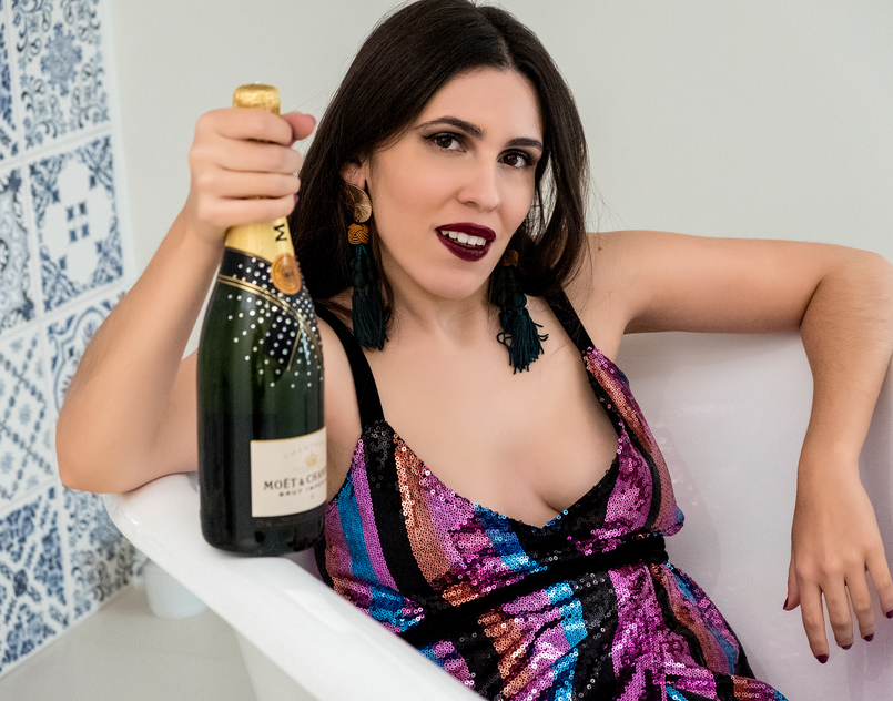 Le Fashionaire From 2017 with love maxi sequins colors striped orange turquoise green purple pink zara dress special edition crystals moet chandon bottle 3377 EN 805x632
