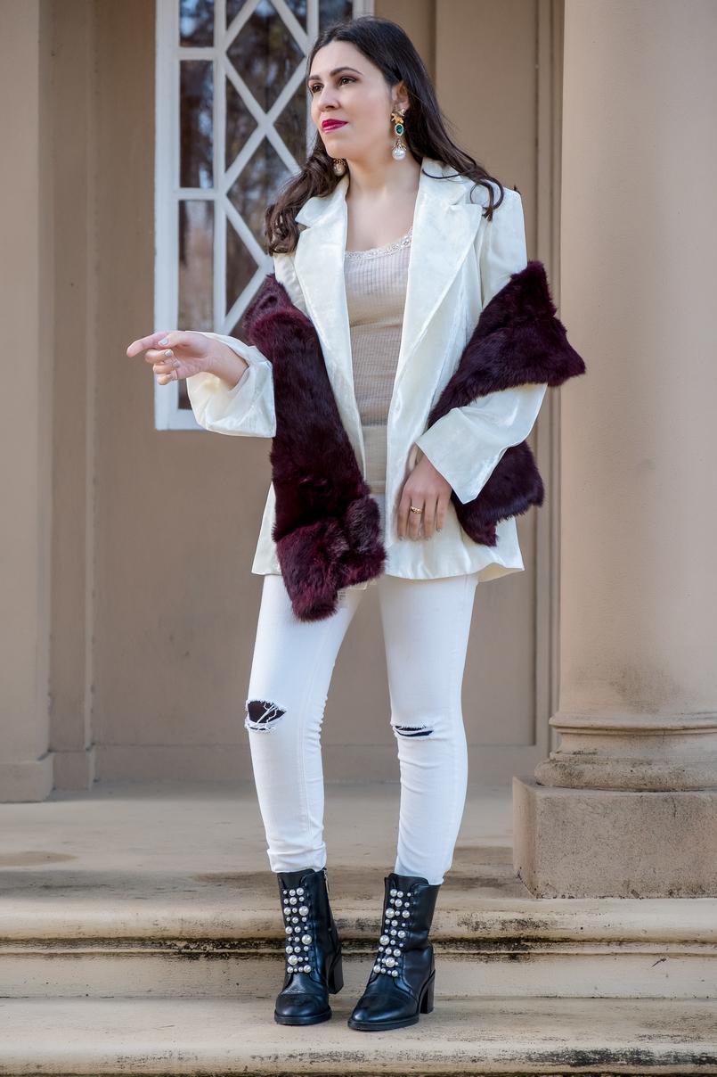 Le Fashionaire Duas peças para vestir em Janeiro blazer branco oversized veludo mango premium sweater renda bege intimissimi la seda brincos brancos compridos dourado mango estola cor vinho sfera 7233 PT 805x1208