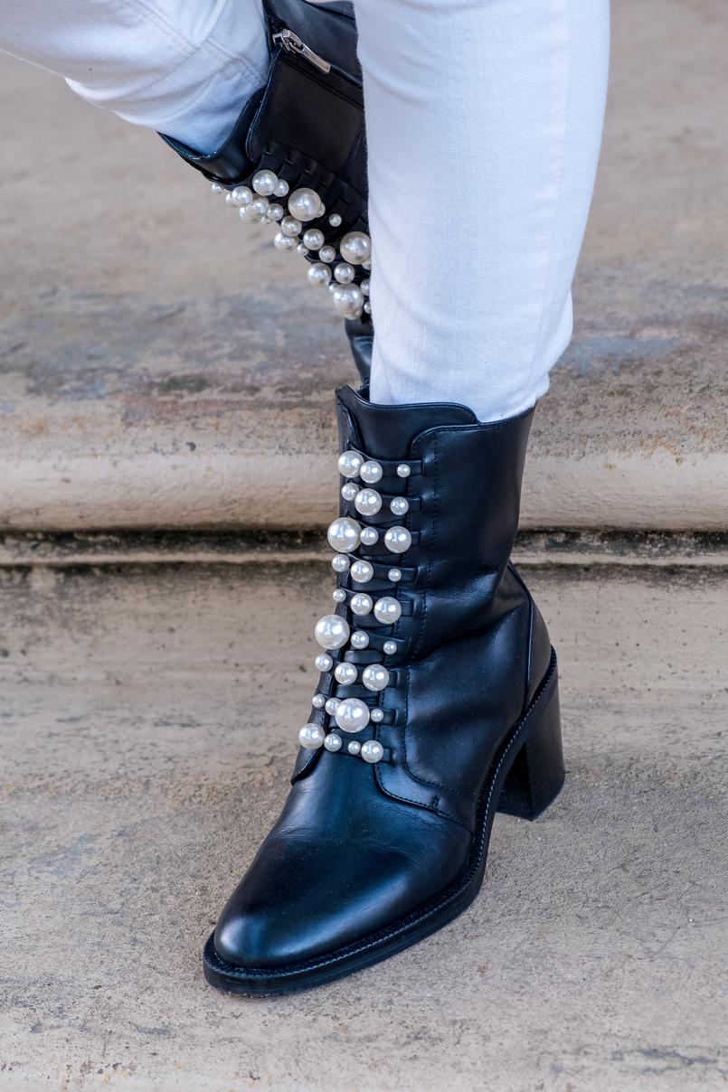 Le Fashionaire Duas peças para vestir em Janeiro calcas brancas rasgoes mango botins pretos pele perolas brancas salto alto zara 7256 PT 805x1208