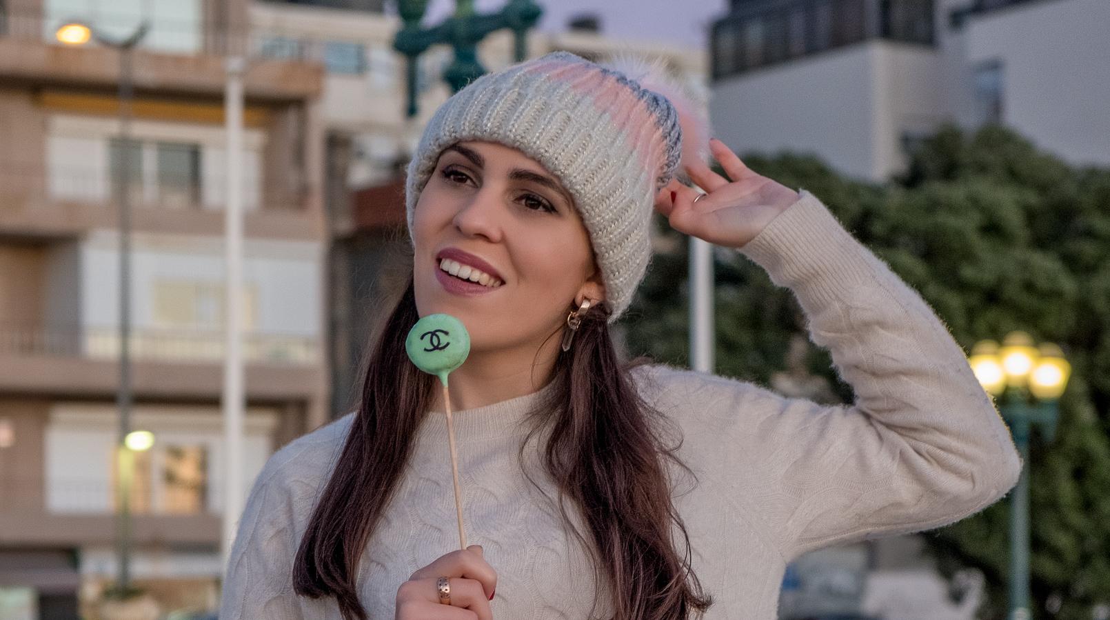 Le Fashionaire Olá 2018: objectivos e sonhos camisola caxemira branca trancas mango gorro la dourado rosa azul pompom womens secret 6959F PT