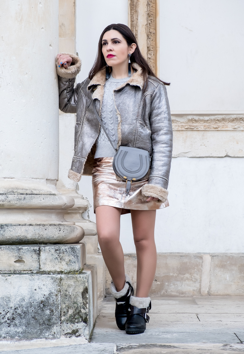 Le Fashionaire Spring trend: metallic outfits metallic silver fur leather dolce gabbana jacket eights cable knit mango silver jumper chloe mini marcie grey leather bag 8028 EN 805x1169