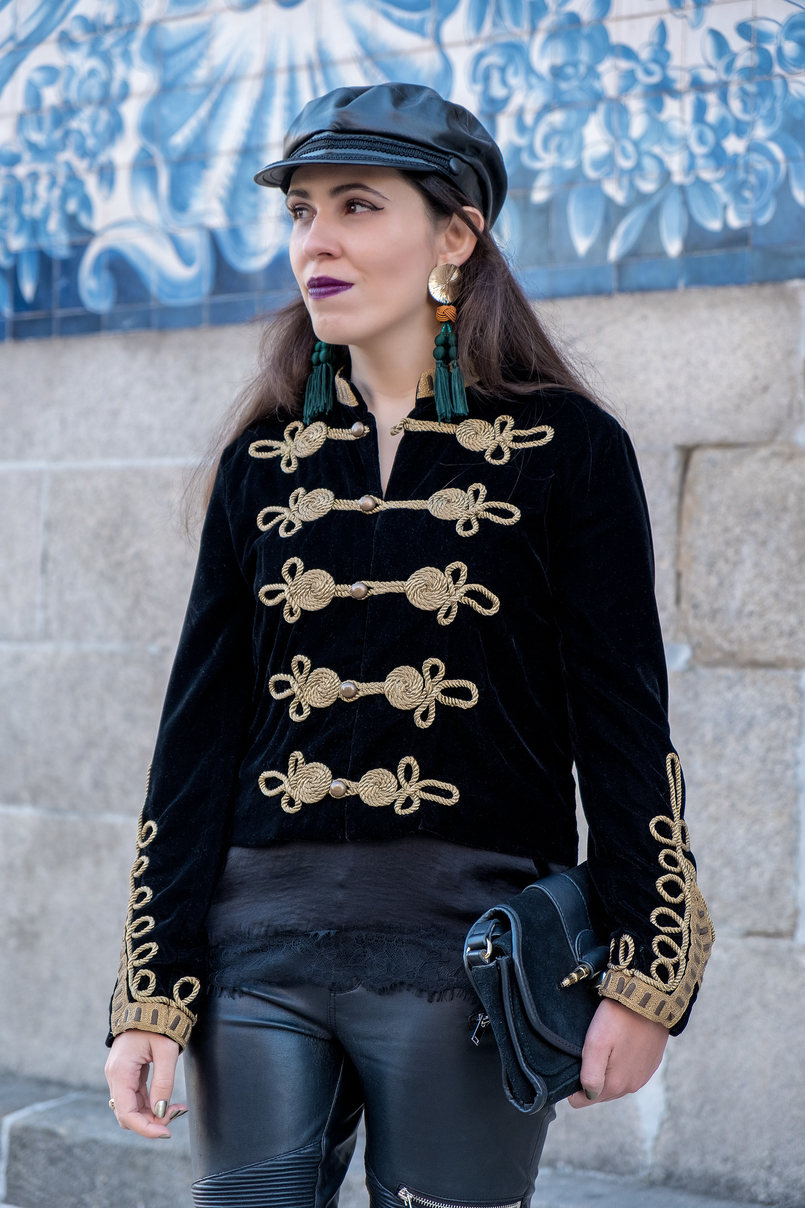 Le Fashionaire Where to buy cool military jackets? military black velvet gold embroidered zara jacket black leather hat cap zara satin black lace stradivarius top suede black bag gold details zara 2158 EN 805x1208