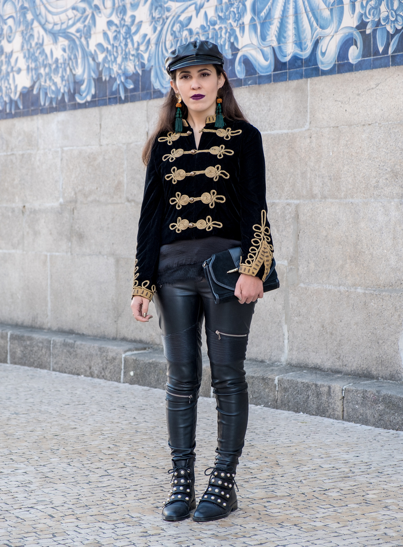 Le Fashionaire Where to buy cool military jackets? military black velvet gold embroidered zara jacket black leather zara boots white pearls gold bold dark green tassels zara earrings 2165 EN 805x1093