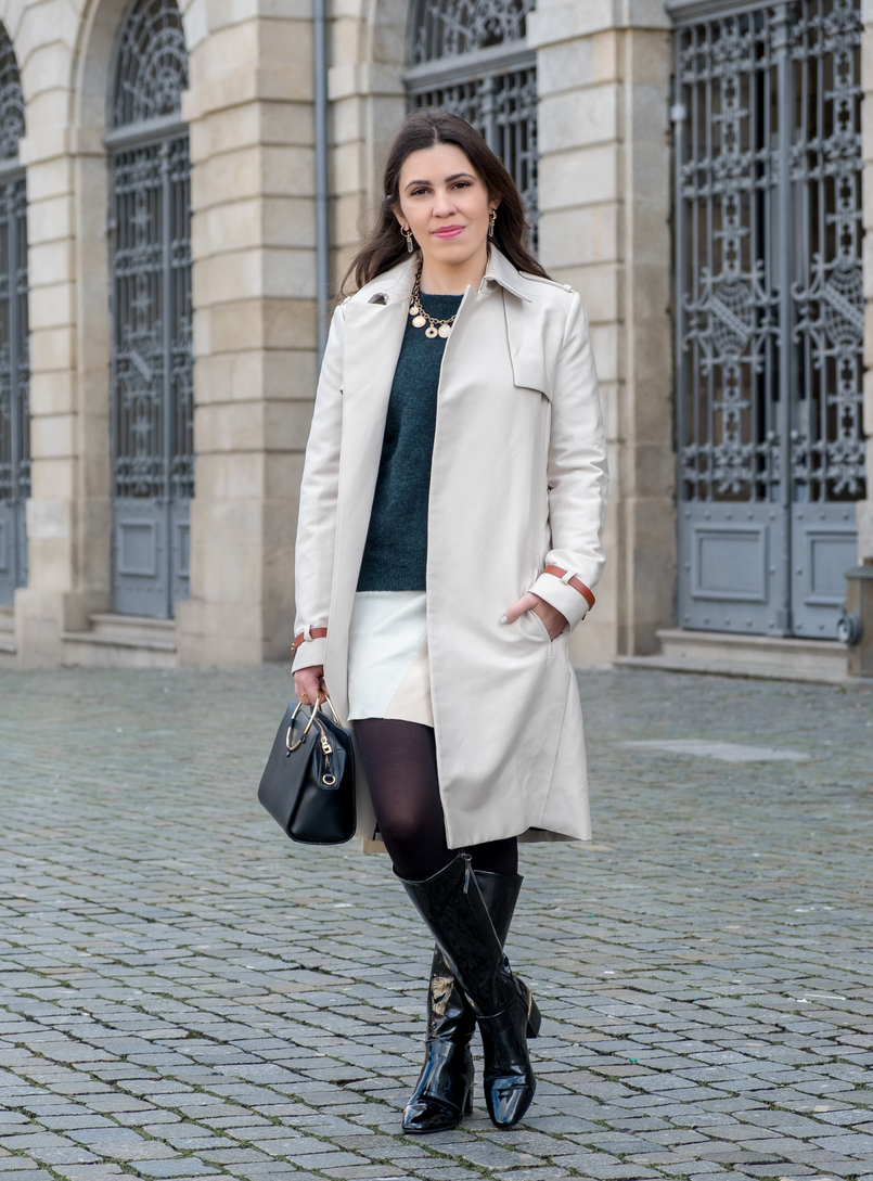 Le Fashionaire Where to find the perfect trench coat nude trench coat leather buckles mango mohair dark green hm jumper fake leather white pale pink mint zara skirt gold coins zara necklace 7165 EN 805x1089