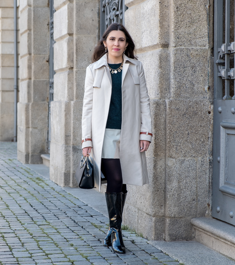 Le Fashionaire Where to find the perfect trench coat nude trench coat leather buckles mango mohair dark green hm jumper fake leather white pale pink mint zara skirt gold coins zara necklace 7202 EN 805x905