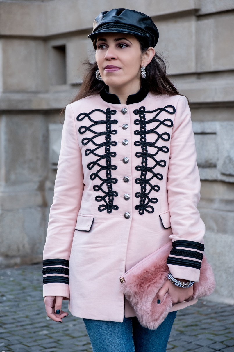 Le Fashionaire Is Internet the new witch hunt? pink velvet black embroidered military zara jacket pearls white hoops earrings pedra dura black military hat fake leather zara 7391 EN 805x1208