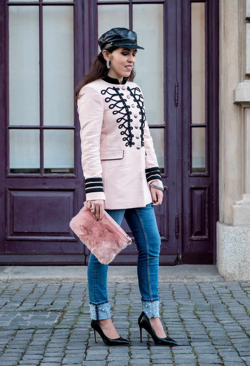 Le Fashionaire Is Internet the new witch hunt? pink velvet embroidered military zara jacket denim embroidered white pearls jeans faux fur pink stradivarius clutch black vinyl pointed aldo heels 7397 EN 805x1176