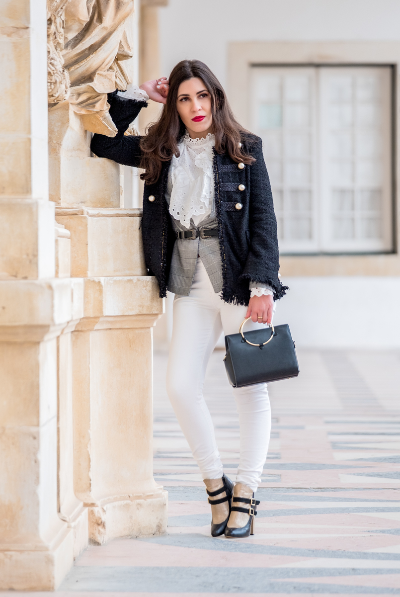 Le Fashionaire The ankle boots you'll see me wearing nonstop until spring Gold black all leather portuguese shoes dario madeira ankle boots white english swiss embroidered shein shirt gold hoop black zara bag 9811 EN 805x1201