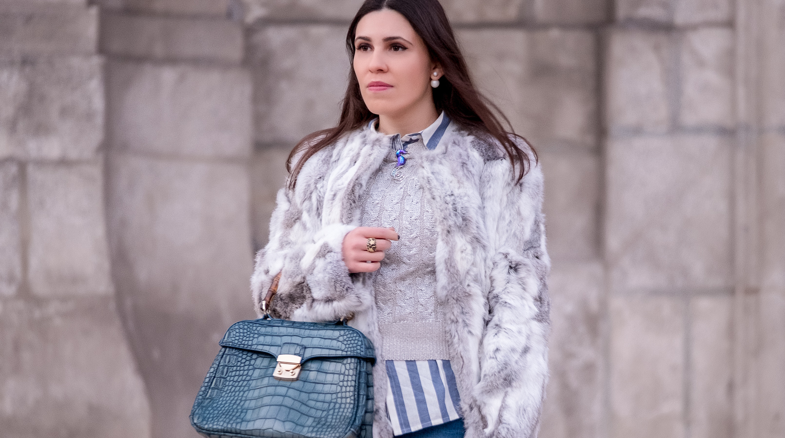 Le Fashionaire Brooches: are them an old women accessory? fur white gray sfera coat stripes light blue white new look shirt seahorse blue swarovski crystal brooch bamboo fake leather blue croc lanidor bag 1115F EN