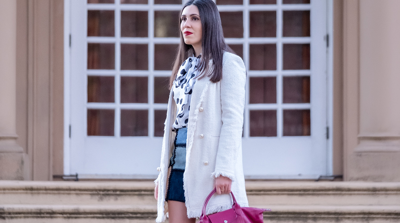 Le Fashionaire Polka dots: the trend that is forever maxi white tweed coat zara pearls buttons white polka dots black shein bow shirt patchwork leather blue nude skirt zara 8949F EN 805x450