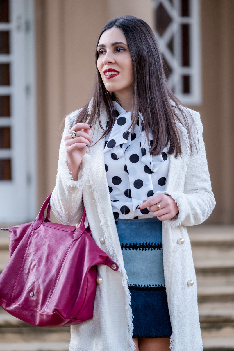 Le Fashionaire Polka dots: the trend that is forever maxi white tweed coat zara pearls buttons white polka dots black shein bow shirt patchwork leather blue nude skirt zara longchamp le pliage cuir purple 8872 EN 805x1208