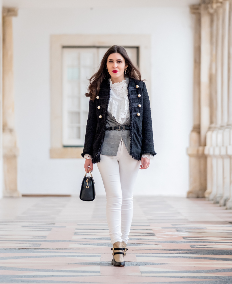 Le Fashionaire The ankle boots you'll see me wearing nonstop until spring tweed black white pearls zara jacket chess tartan black white bershka blazer white english swiss embroidered shein shirt gold quartz mango earrings 9802 EN 805x988