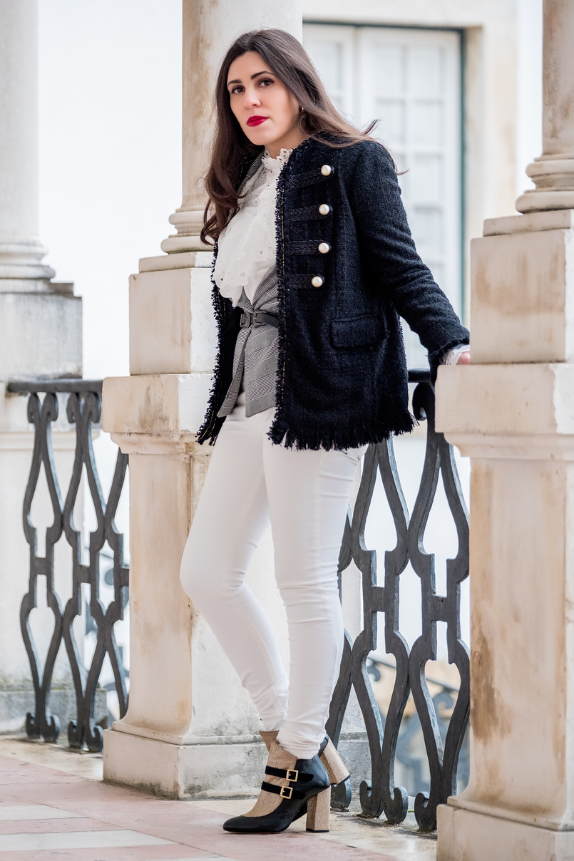 Le Fashionaire The ankle boots you'll see me wearing nonstop until spring tweed black white pearls zara jacket chess tartan black white bershka blazer white mango skinny jeans white english swiss embroidered shein shirt 9801 EN 805x1208